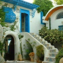 Intérieur d'une cour d'une maison de Sidi Bou said